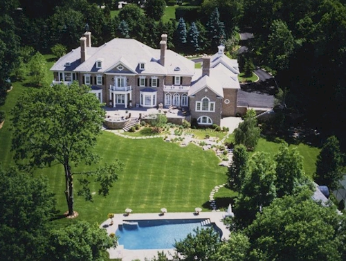 Rear Aerial — $16.9 Million Greenwich, Connecticut Mansion