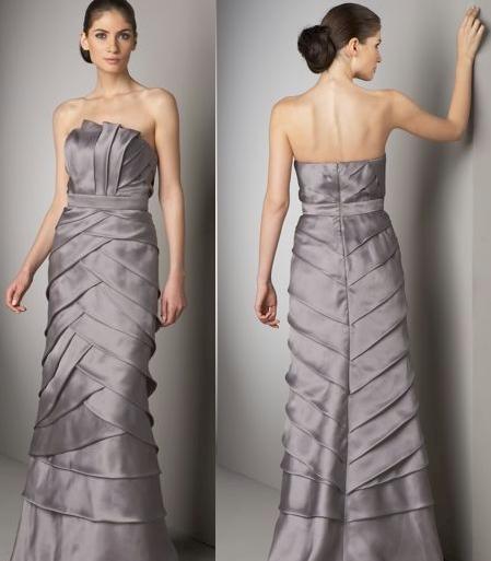 Badgley Mischka Platinum Label Pleated Silk Gown