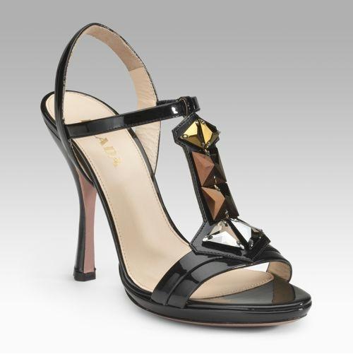 Prada Jeweled T-Strap Sandals