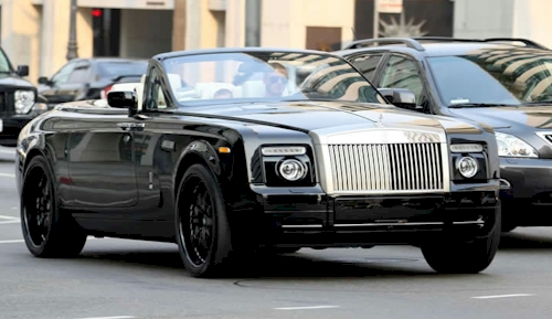 David Beckham In His Rolls Royce Phantom Drophead Coupe