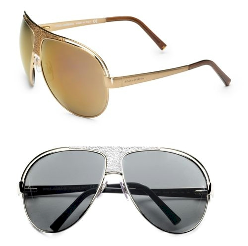 Dolce & Gabbana Leather-Trimmed Aviator Sunglasses