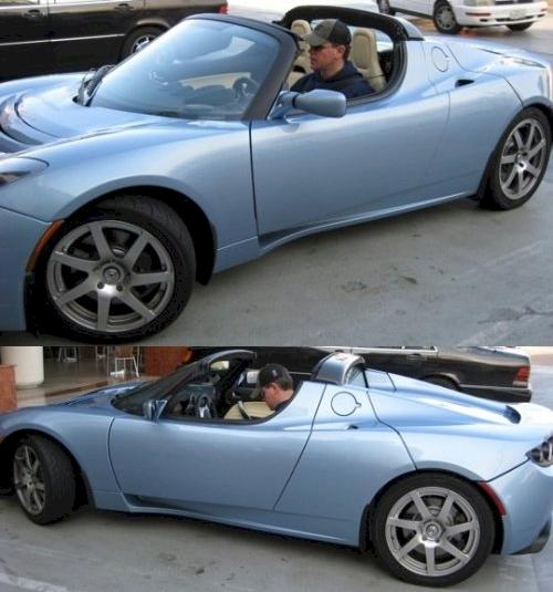 Matt Damon in a Tesla Roadster
