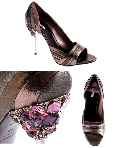 Miu Miu Jeweled Peep Toe