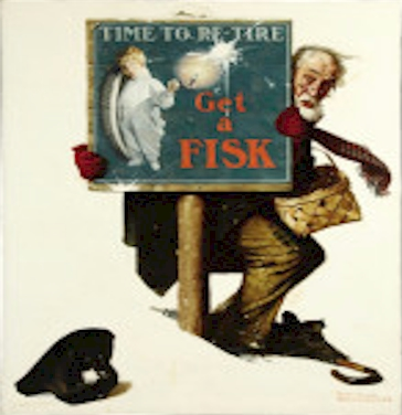 Norman Rockwell Time to Retire: Old Man with Shopping Basket, Fisk Tire Company, automobile tire advertisement, 1925