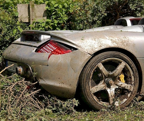 The Porsche Carrera GT wrecked by Anthony Hamilton.