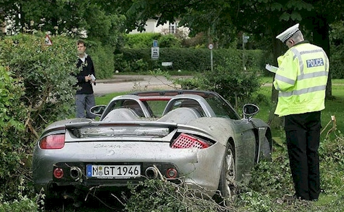 Wrecked Porsche Carrera GT