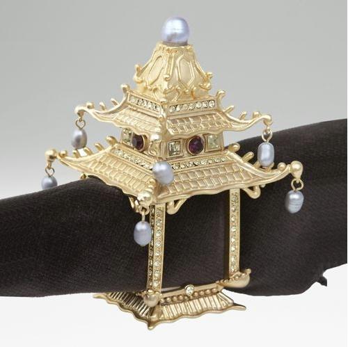 L'Objet Set of 2 Pagoda Napkin Rings