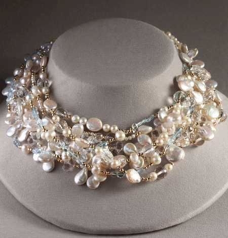Meredith Frederick Pearl and Crystal Necklace