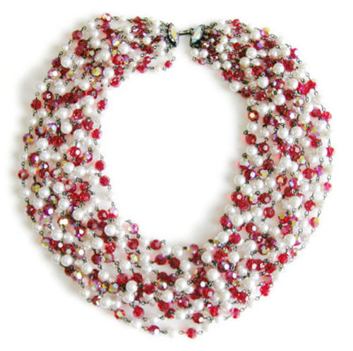 Vintage Costume Jewelry: Opulent Red Crystal and Faux Pearl Bib Necklace