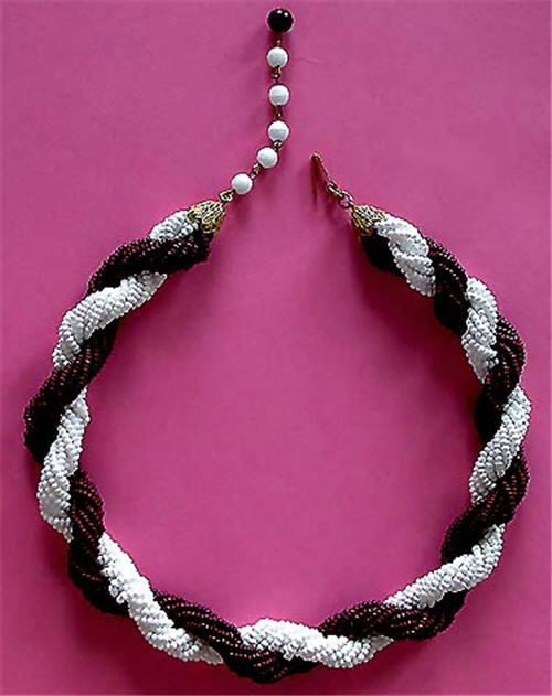 Miriam Haskell Burgundy and White Rope Style Glass Bead Vintage Estate Antique Necklace