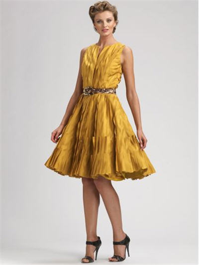 Oscar de la Renta Doupioni Pleated Dress