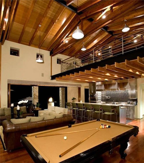 Dramatic beam ceilings and loft