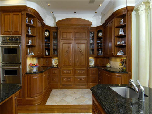 Kitchen with custom designed cherry cabinets