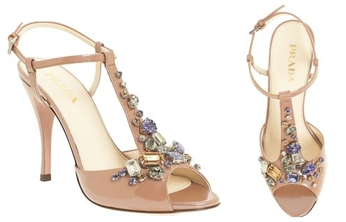 Prada Jeweled T-Strap Sandal