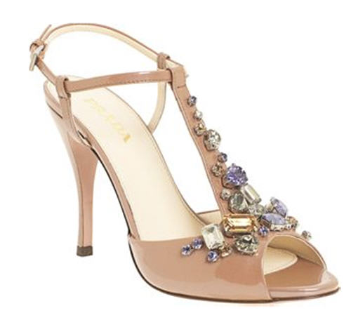 Prada Jeweled T-Strap Sandal :  chic womens shoes evening