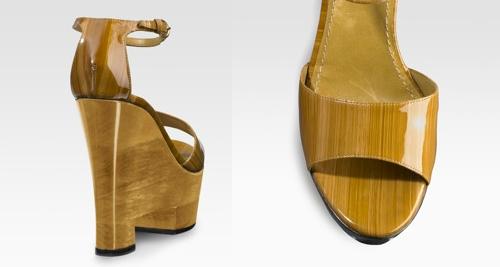 Yves Saint Laurent Bicolor Ankle Wrap Wedges
