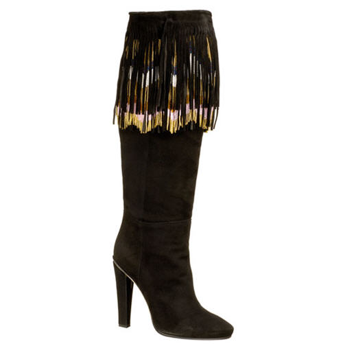 Jimmy Choo Bill Suede Boot with Beaded Fringe
