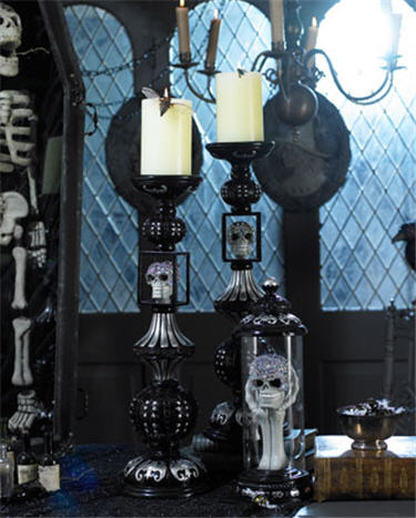 Skull Candlesticks & Cloche