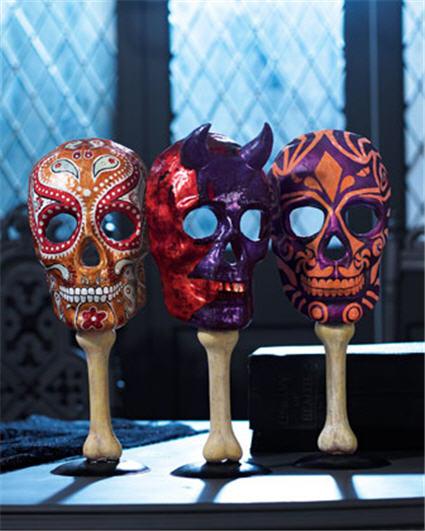Skull Masks on Stands