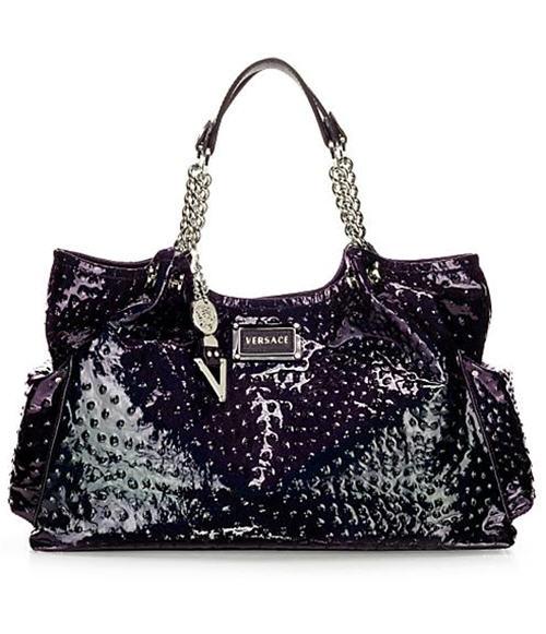 Versace Venus Ostrich-Stamped Patent Bag