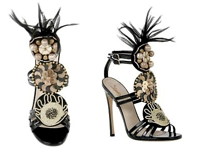 Yves Saint Laurent High Heel Black Patent Sandal with Feathers