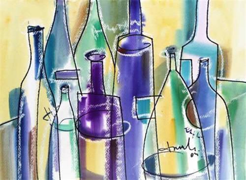 """Bottles 2? Watercolor Painting"