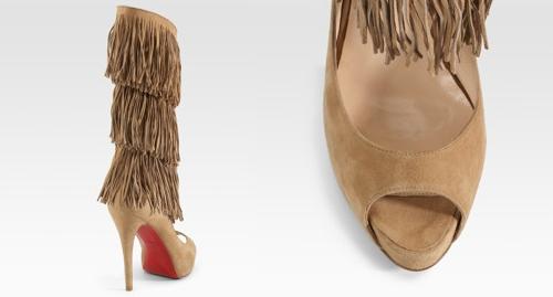 Christian Louboutin Peep-Toe Fringe Boots