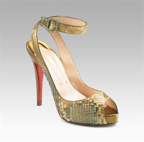 Christian Louboutin Privatita Platform Pumps :  luxe gold metallic shoes