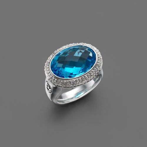 David Yurman Blue Topaz Oval Ring