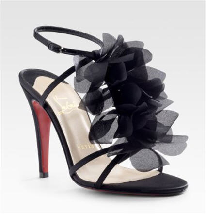 Christian Louboutin Crepe Satin T-Strap Sandals