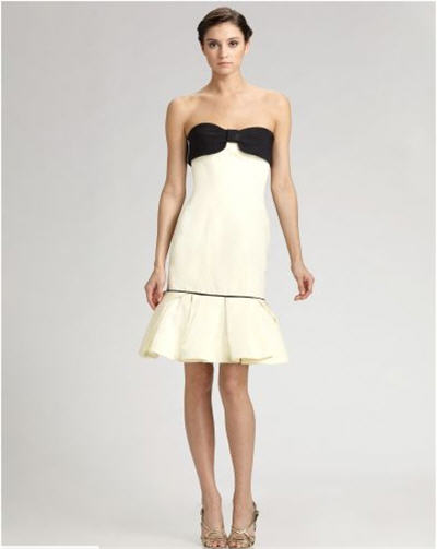 Carolina Herrera Bow-Trim Faille Dress :  chic designer clothing dresses evening