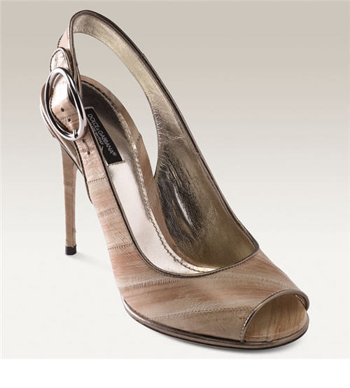 Dolce & Gabbana Peep Toe Eelskin Slingback :  designer accessories designer clothing accessories shoes