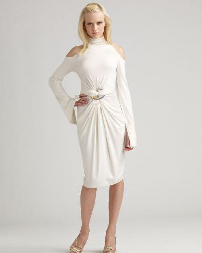 Donna Karan Cold Shoulder Turtleneck Dress :  chic collection designer dress