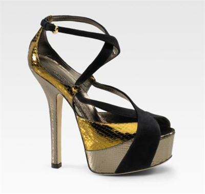 Gucci Lucy Python/Suede Sandals :  luxe clothing womens clothing womens