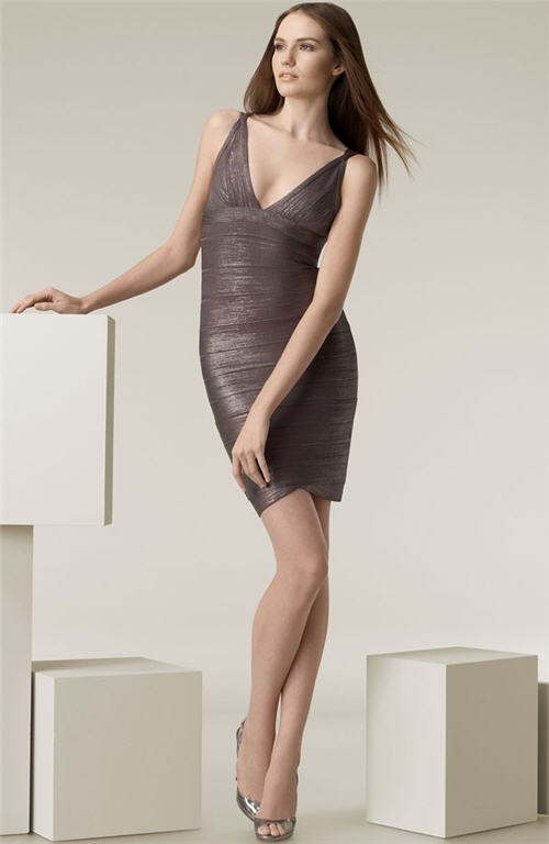 Herve Leger Double V-Neck Knit Dress :  chic designer clothing metallic dresses
