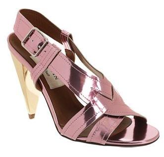 Lanvin Metallic Woven Slingback Sandal