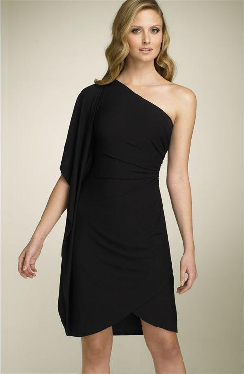 St. John Evening Matte Jersey One Shoulder Dress