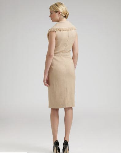 Dior Fringed-Collar Hopsack Dress