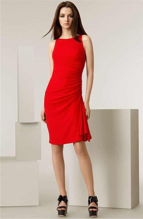 Michael Kors Side Ruched Matte Jersey Dress