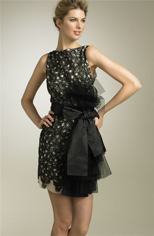 Robert Rodriguez Black Label Lace Silk Sheath Dress :  black dress womens designer clothing dresses
