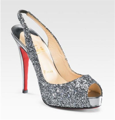 Christian Louboutin Glitter Peep-Toe Slingbacks :  strappy heels cocktail dress fashion accessories evening