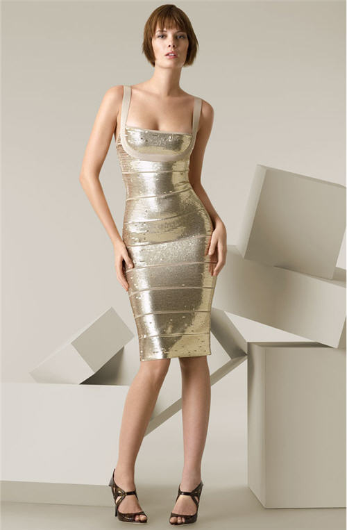 Herve Leger Sequin Overlay Cocktail Dress :  modern designer clothing evening cocktail dress