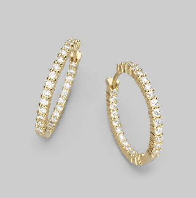 Roberto Coin Pave Diamond Hoop Earrings TnB52tT