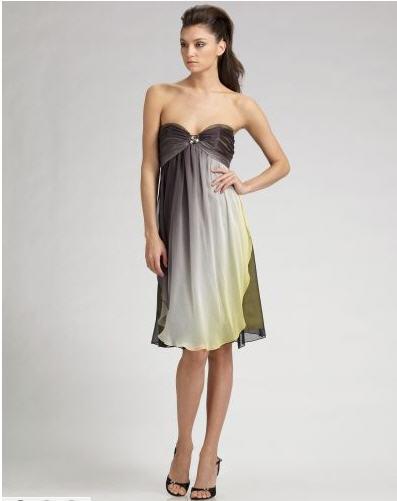 ABS Strapless Ombré Silk Dress