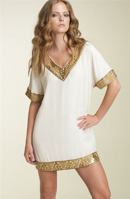 Exotic Excess - Haute Hippie Embellished Silk Tunic Dress :  haute hippie silk tunic embellished