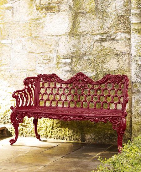 red-garden-bench