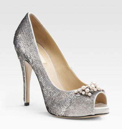 Exotic Excess -   Shoe of the Day: Valentino Sequin Peep-Toe Pumps