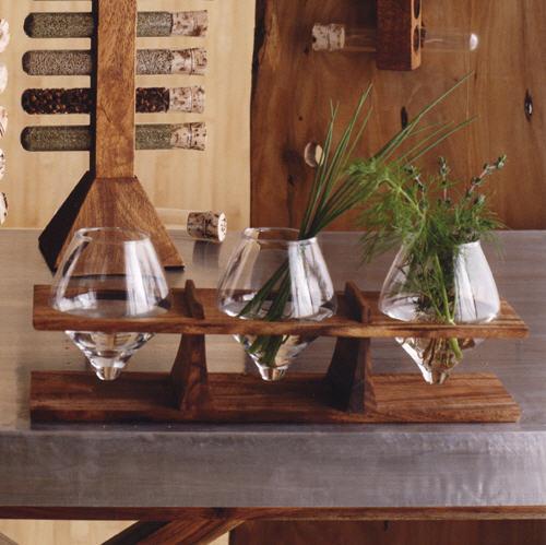 wooden herb rack