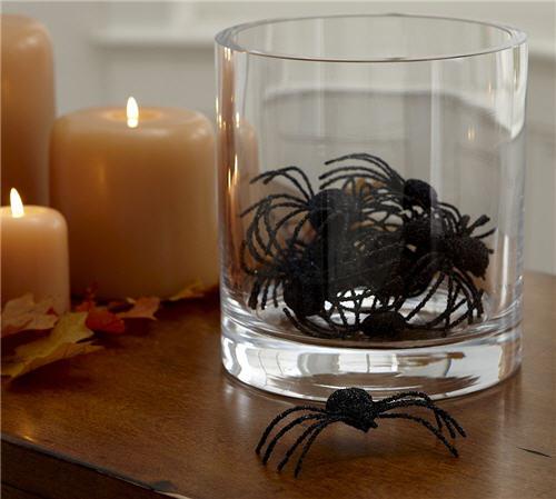 Halloween Decor Pottery Barn Glitter Spiders Vase Filler