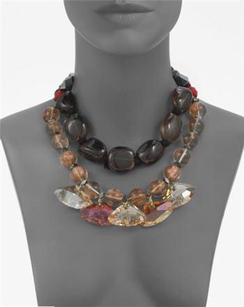 Oscar de la Renta Smoky Topaz & Hematite Triple-Strand Necklace 2